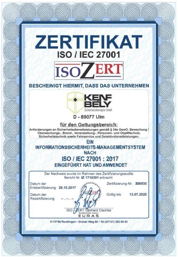 Kenf und Bely - ISO/ZERT 27001
